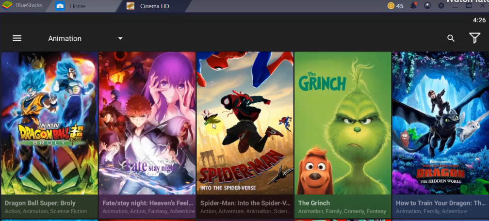 Cinema HD App Features for PC