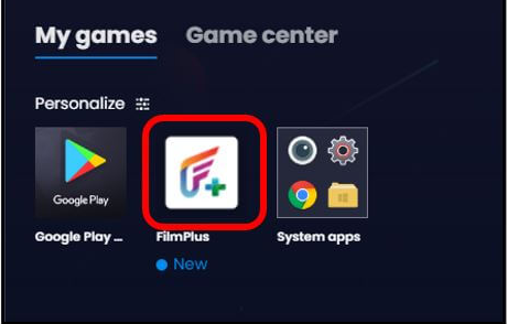 Launch 'FilmPlus' App from Home Screen